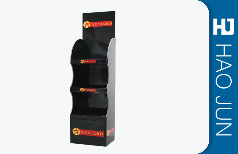 3MM Thickness Cardboard Display Stands For Clothing Shows With Black Red Logo